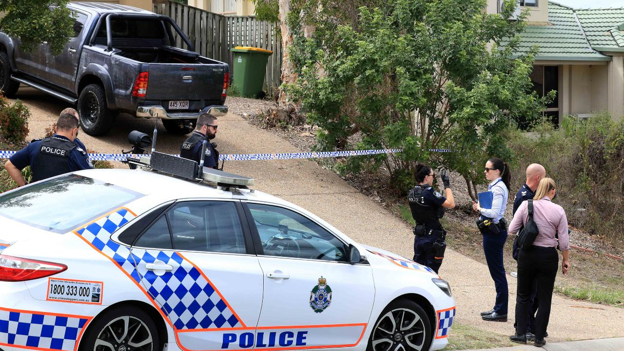 Police on the scene at Kumnick Street, Upper Coomera where there was a shooting last night involving a Rebels bikie Gokhan Turkyilmaz. Pics Adam Head