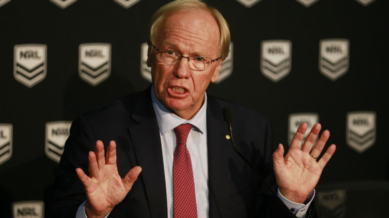 Australian Rugby League Commission chairman Peter Beattie lays down the law at yesterday's media conference. Picture: Mark Evans/Getty Images