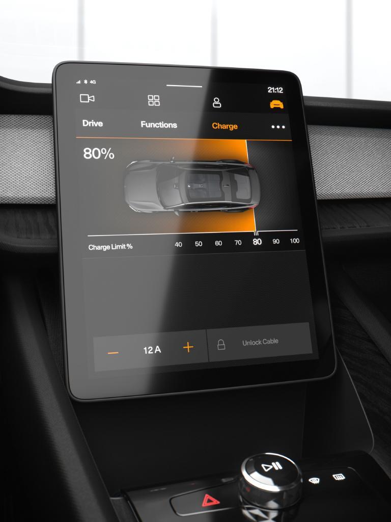 Polestar brings a large, portrait-oriented display screen, as in the Tesla Model S.