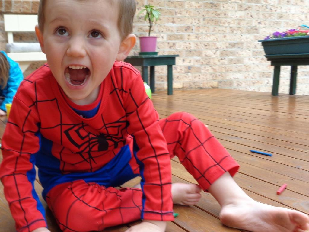 William was wearing this Spider-Man suit when he disappeared. Picture: Supplied.