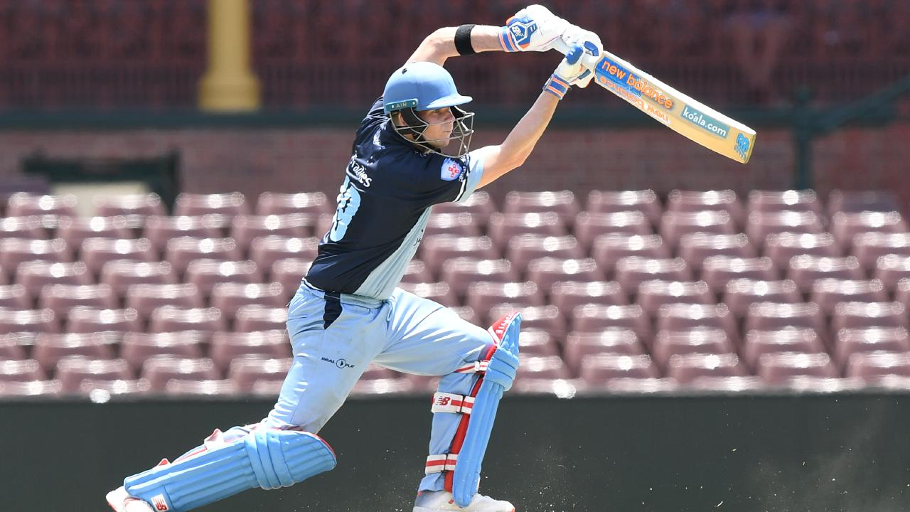 Steve Smith drives for Sutherland during the NSW T20 Cup. Picture: JOEL CARRETT (AAP).