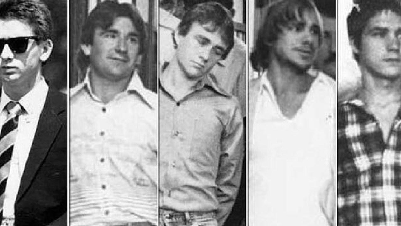 Anita Cobby's killers (L-R): John Travers, Michael Murphy, Leslie Murphy, Gary Murphy and Michael Murdoch.
