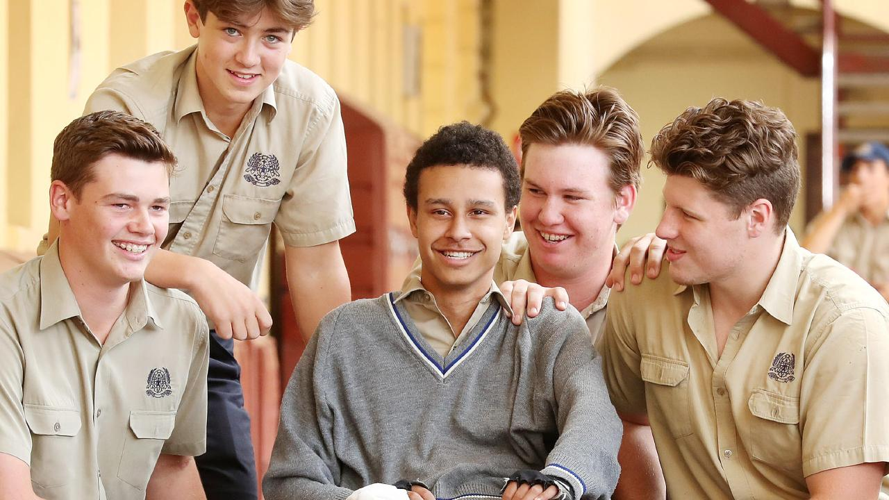 Alex Clark back at school with Liam O'Hara, Jack Moses, Nicholas Graham and First XV Captain Harry Vella at Nudgee College. Picture: Liam Kidston.