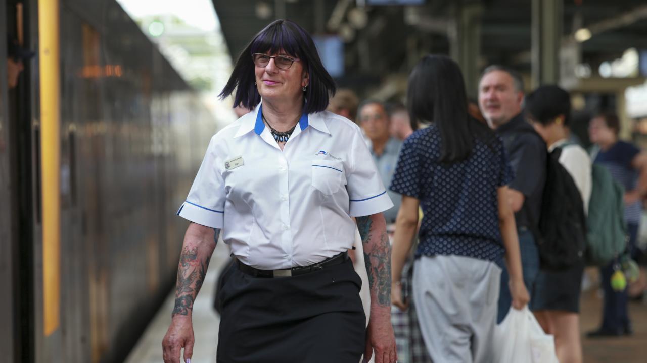Transgender transport officer Britt working at Central Station. Picture: Justin Lloyd