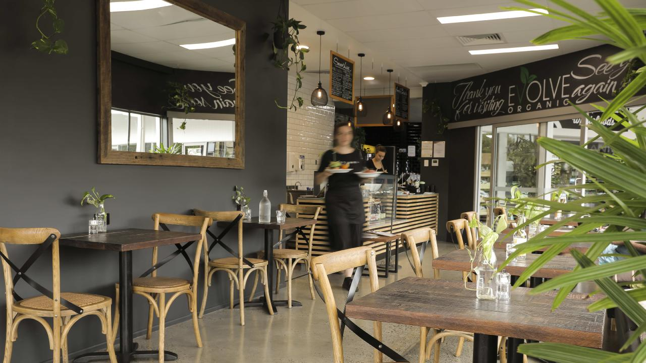 The interior of the former Evolve Organic Cafe in Newmarket, now known as Market Organics Cafe. Photo: Mark Cranitch.