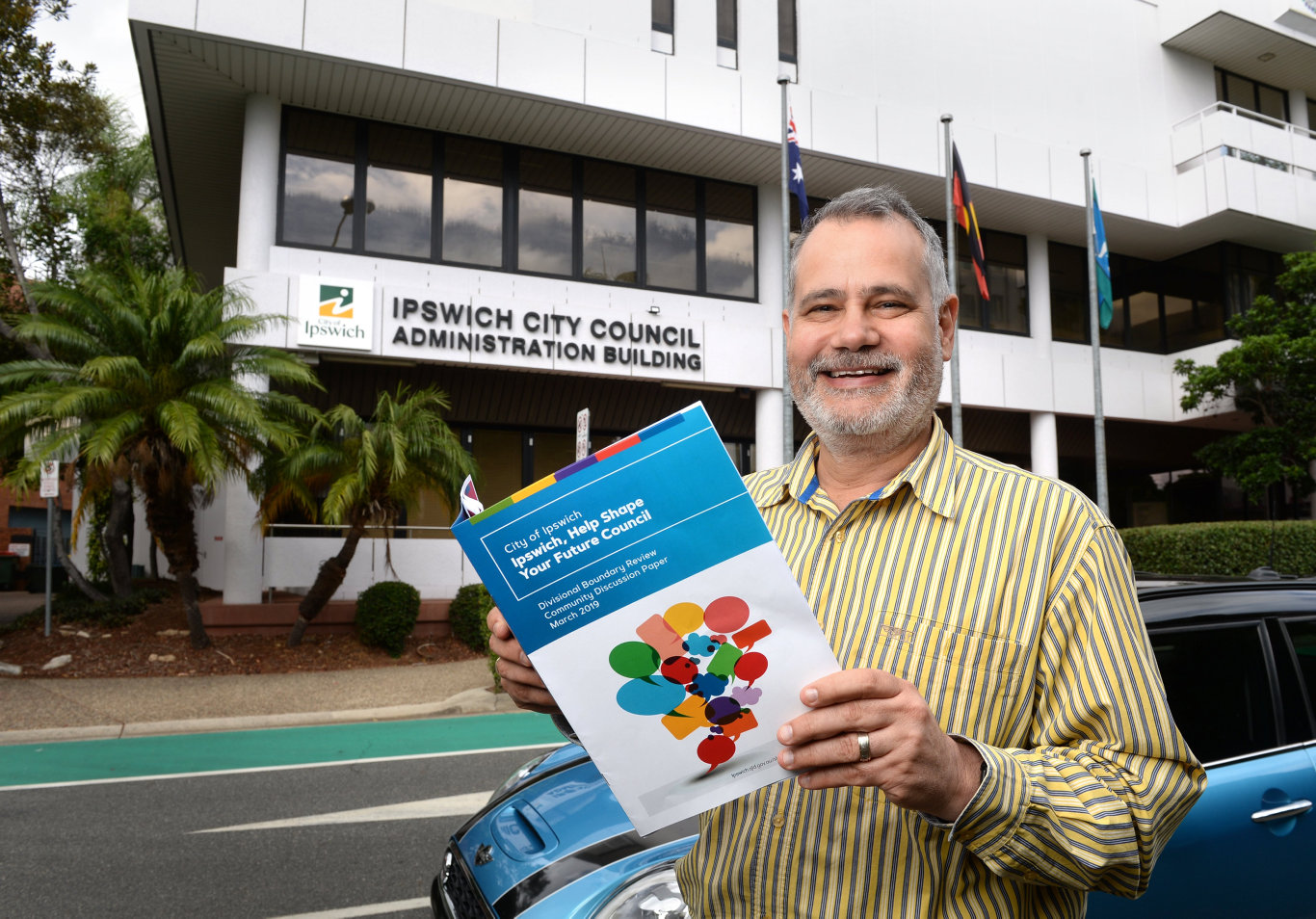 Ipswich City Council interim administrator Greg Chemello with the Divisional Boundary Review Community Discussion Paper.