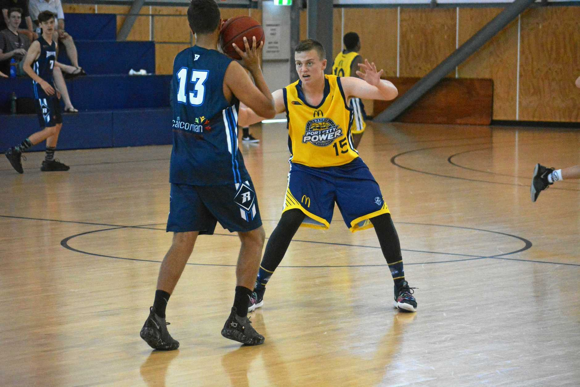 BIG IMPROVER: Biloela-based Owen Gardiner will be one of the key players for Gladstone in this weekend's CDC. Here, Owen defends Rockhampton's Lleyton Muggeridge in CDC number two in Rocky in which Gladstone went undefeated 4-0.