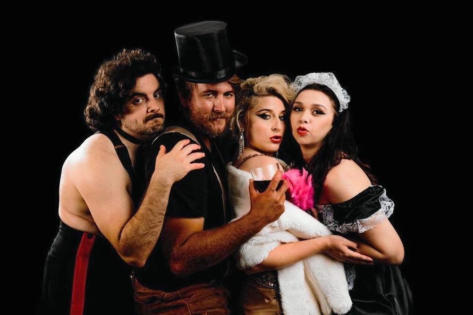 Red Foot Cabaret troupe members Jesse Warren, Travis Hock, Amanda Hock and Amber Oliver