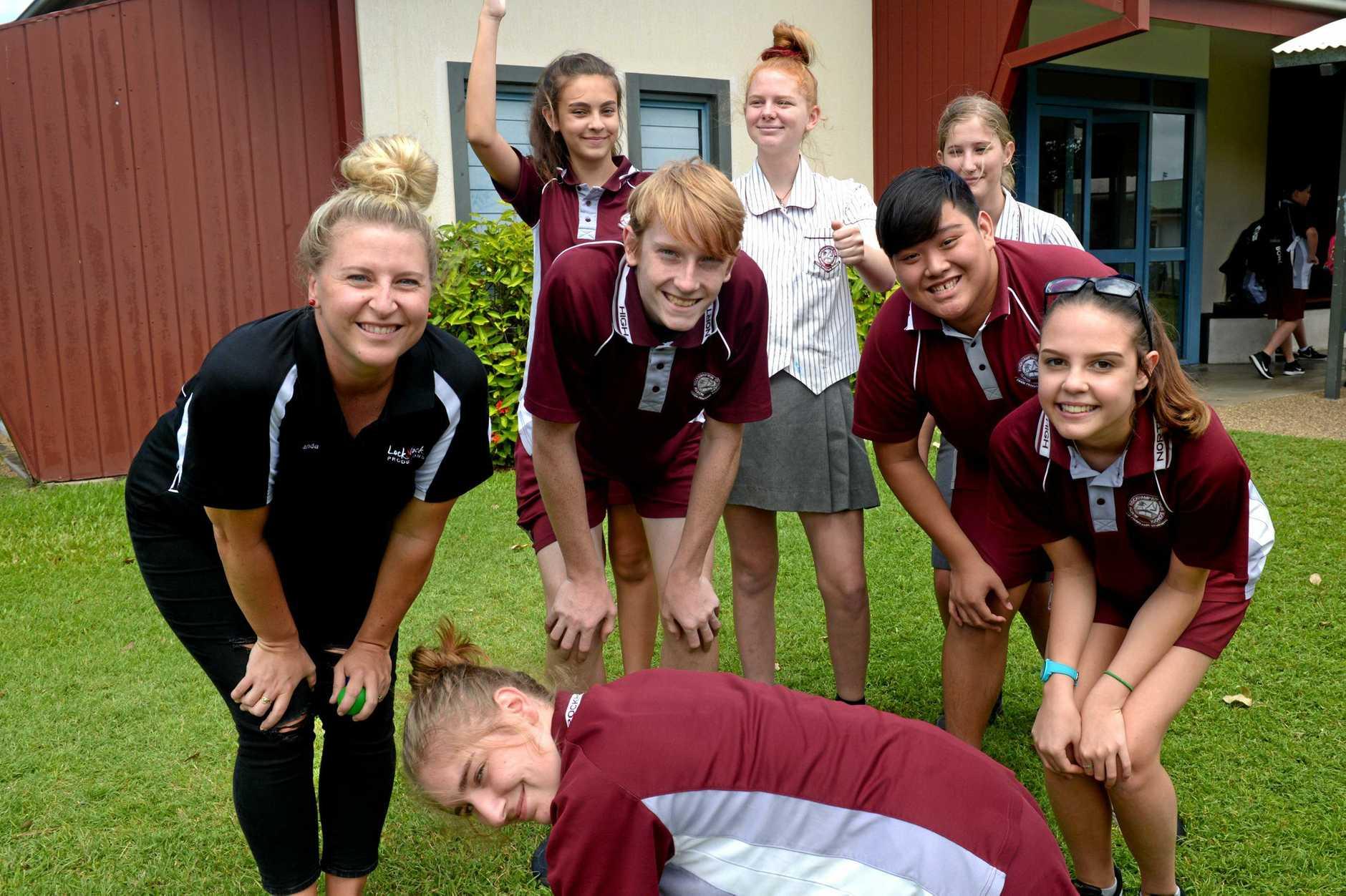 Amanda Locker, Emily Unwin, Jack Coote, Ashleigh Nicholson, Chelsea Schmidt, Huy Nguyen, Daenera Sealey and Aleyra Turnley-Dau at North Rockhampton High School.