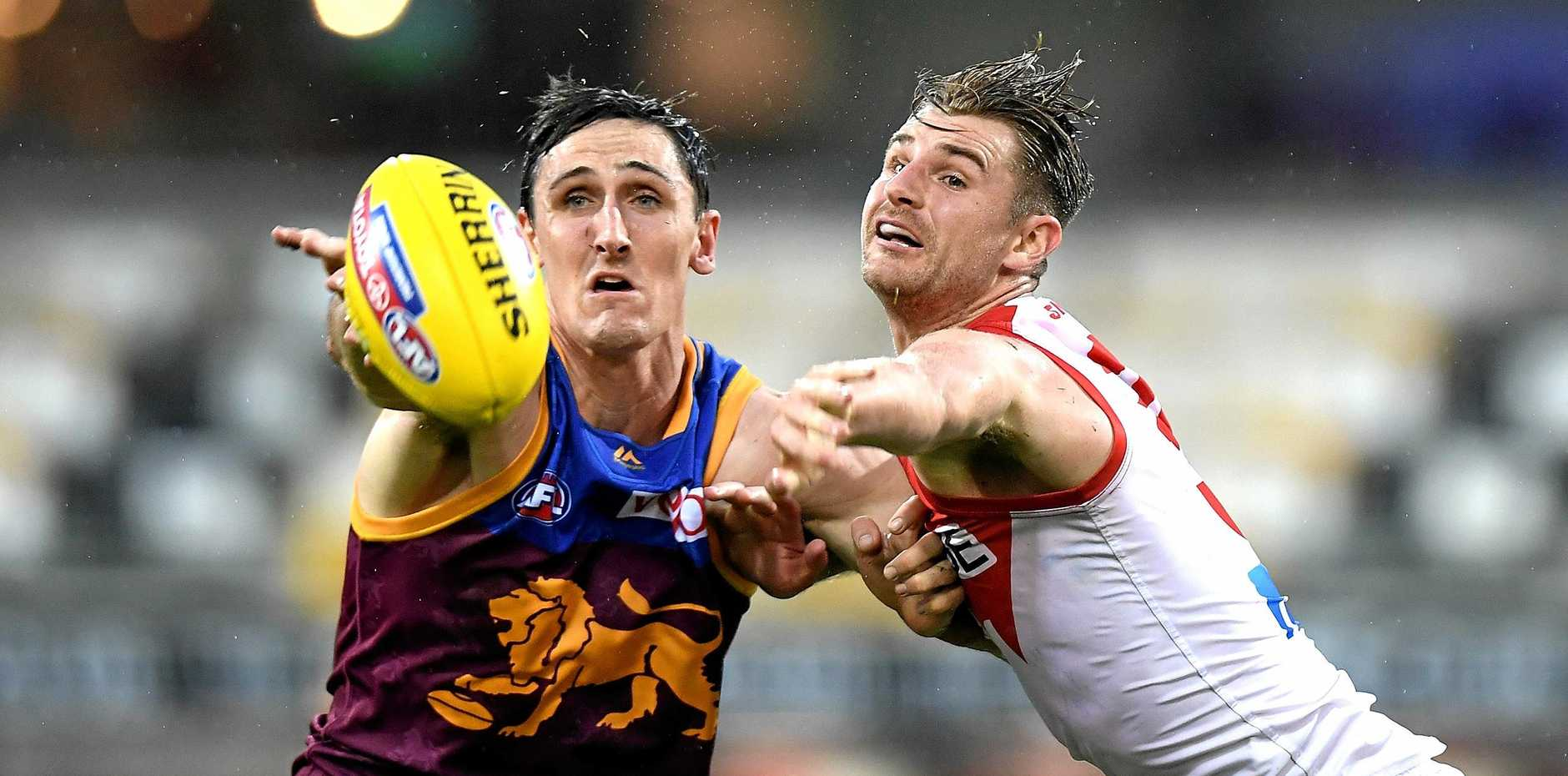 Brisbane's Oscar McInerney and the Swans' Harry Marsh contest possession in their teams' round 10 match last year. Picture: Bradley Kanaris/Getty Images