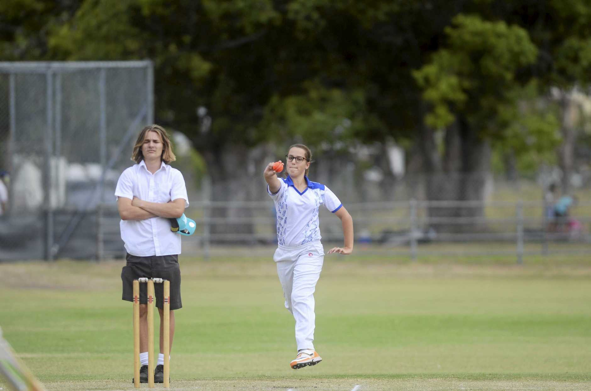 AIMING UP: Caitlin Chevalley took a wicket and scored 12 not out for Grafton High in round two of the 2018/19 Open Girls Daily Examiner Shield Super 8s Cricket competition against McAuley Catholic College at McKittrick Park on Tuesday.