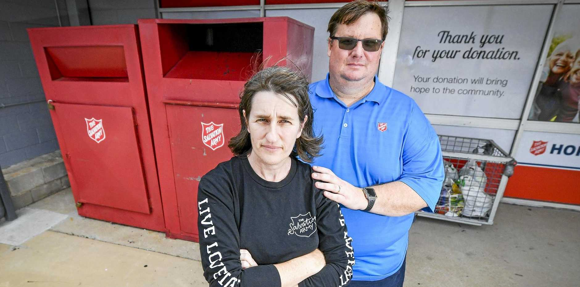 DONATIONS DESTROYED: Salvation Army's Kay and Chris Ford say donation bins are being trashed during weekends, with people even caught defecating and urinating on donated items.