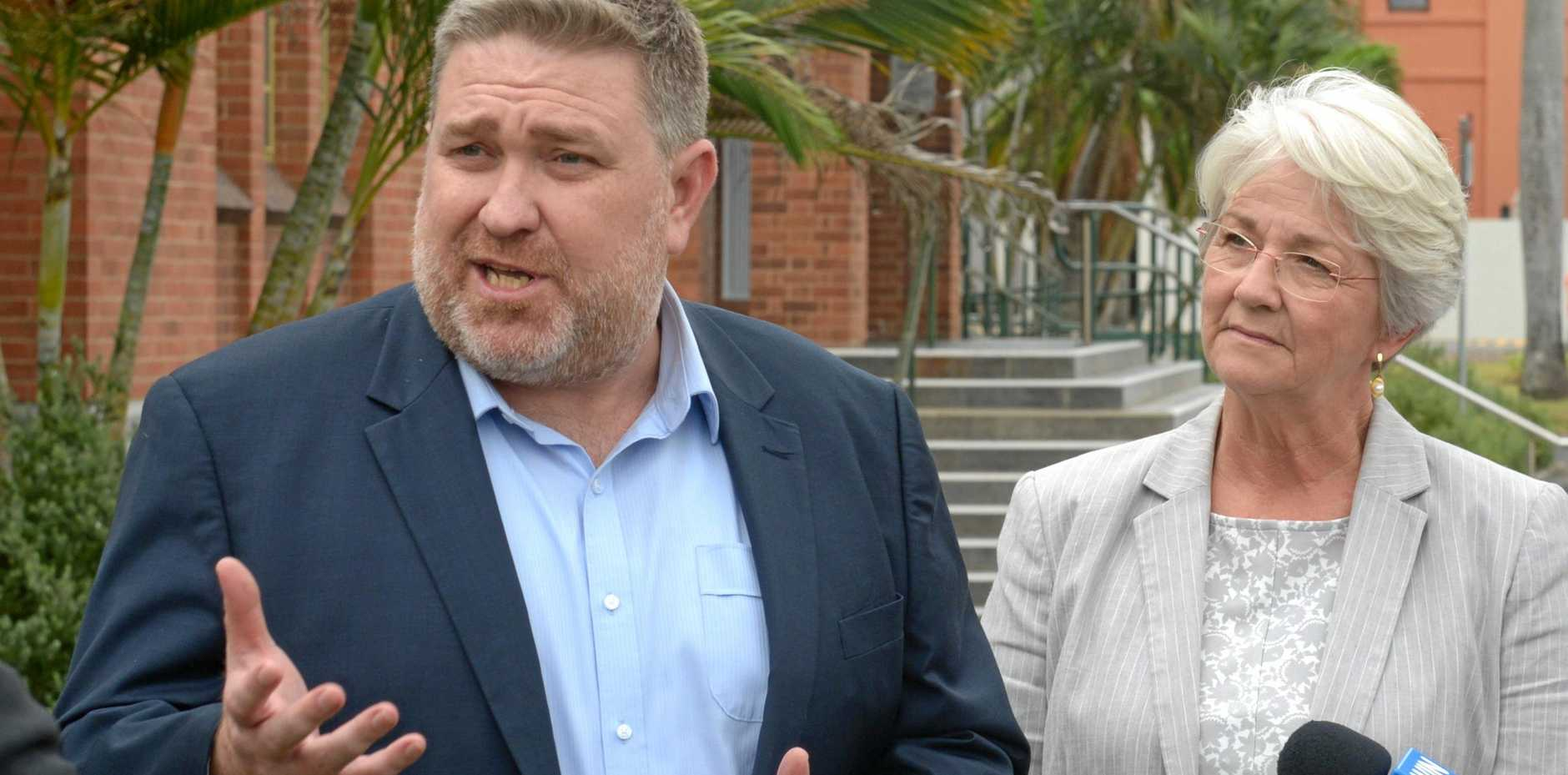 Adani Mining chief executive Lucas Dow and mayor Margaret Strelow