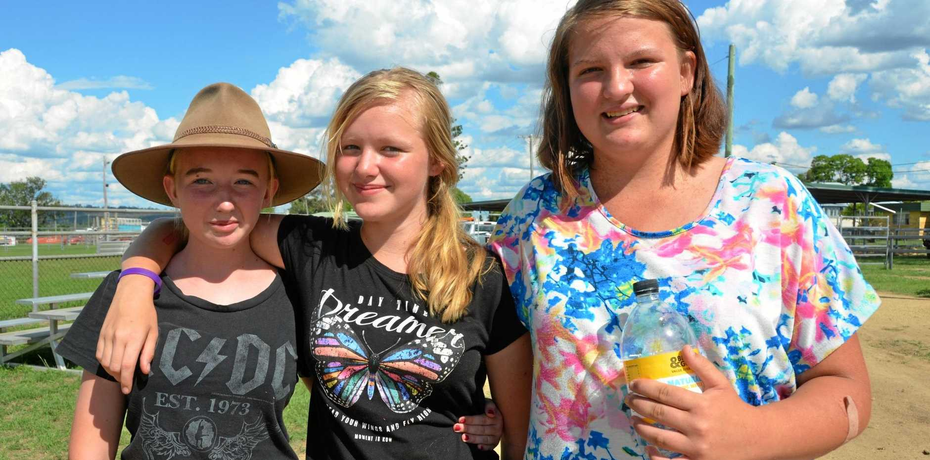 SHOW FUN: Chloe Wigg, Shannon Anderson and Holly Bleys at the 2017 Murgon Show.