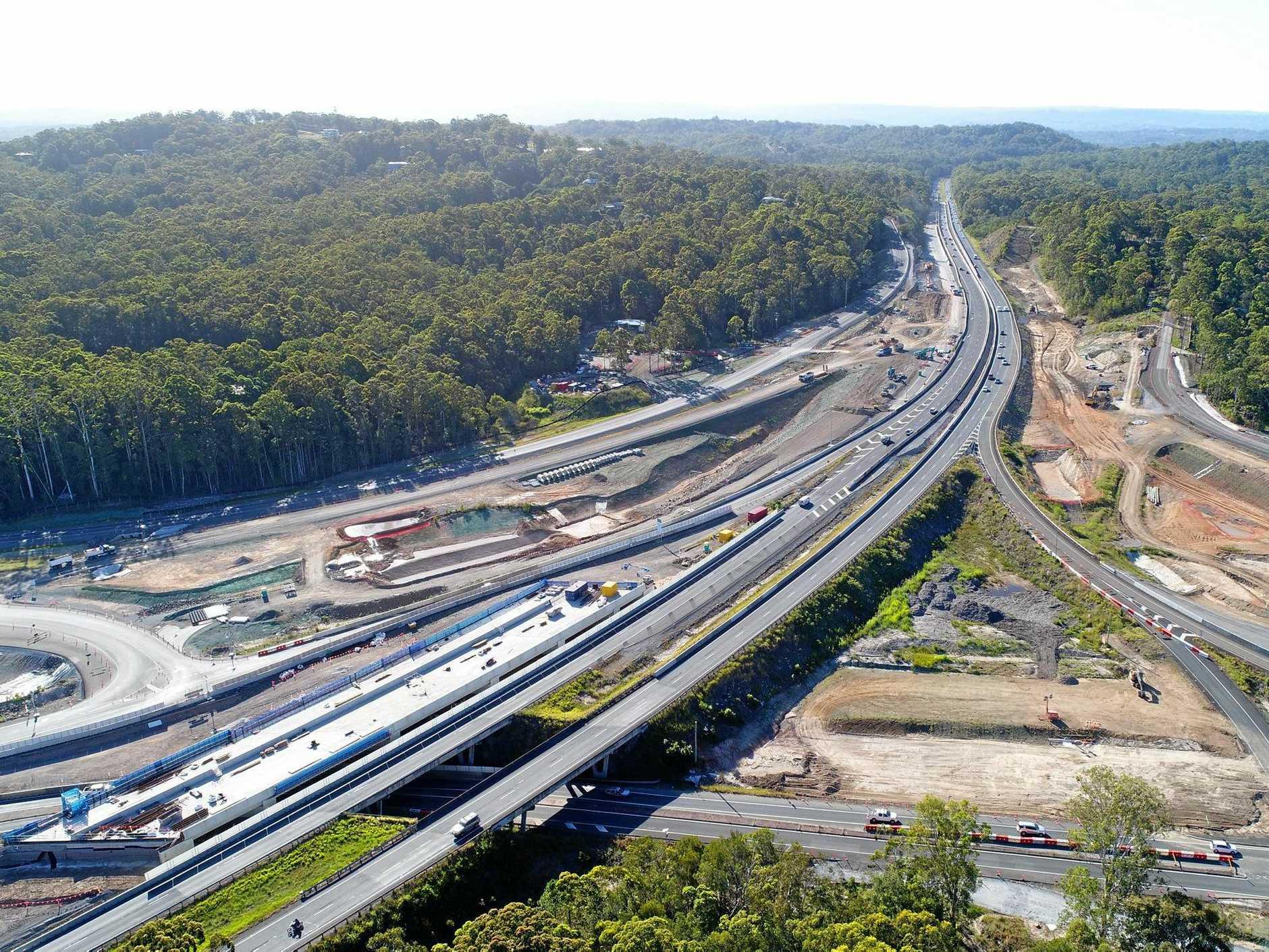 DRONE: Bruce Highway upgrade at the Sunshine Motorway onramp.