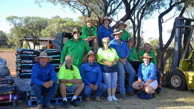 The Drought Angels' convoy has arrived in the North-West Queensland community of Four Ways and will be handing out supplies to flood-affected farmers today.