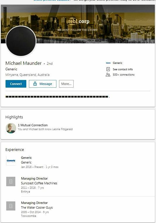 Rebl Corp director Michael Maunder took his company off his LinkedIn profile on the day it went into insolvency.