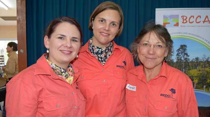 BIEDO GIRLS: Sarah Aberdein, Kristy Frahm and Karen Seiler at a Burnett Inland Women in Agriculture (WAGs) Day at Biggenden last year.