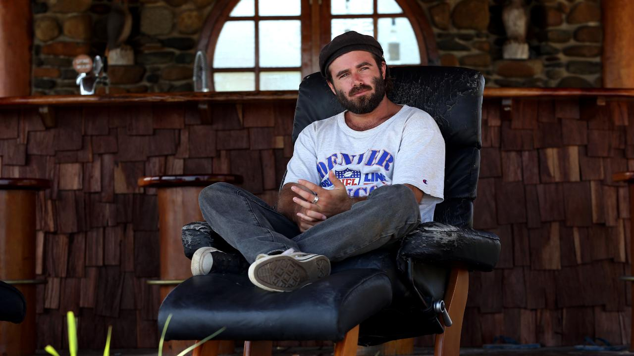 Australian singer songwriter Angus Stone in his cabana on his property in the hinterland of Byron Bay, NSW.