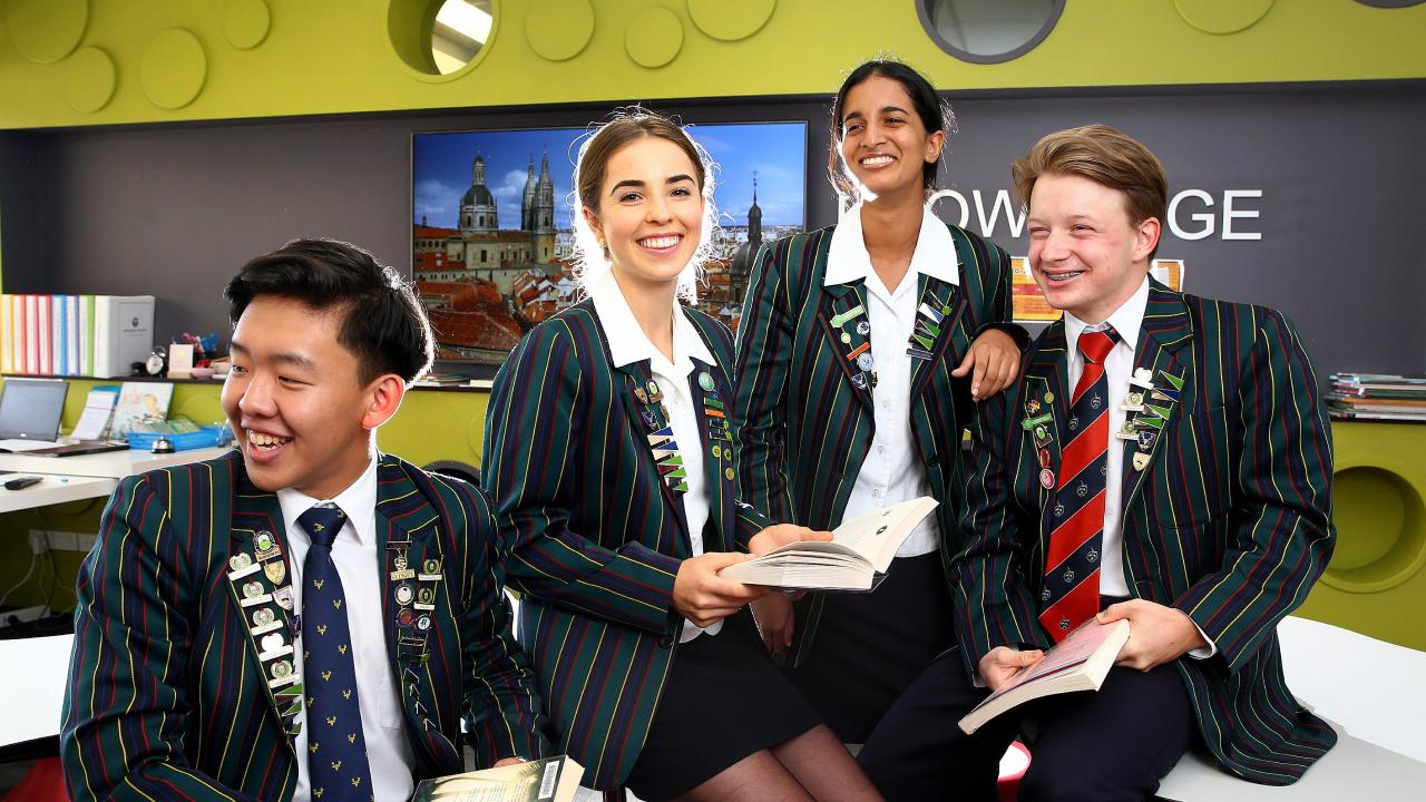 Somerset College Year 12 students Kevin Song, Ainsley McCarthy, Joanne Joe and Julius Wright love their school. Somerset College was on the top performing co-education schools in 2018. Pic: Adam Head