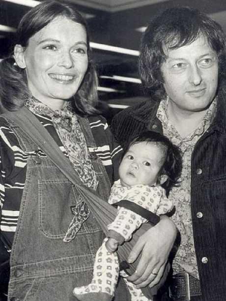 Mia Farrow, Andre Previn and daughter, Lark in 1973. Picture: Supplied