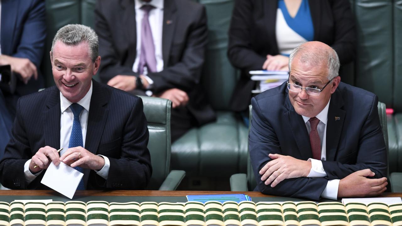 Christopher Pyne and Prime Minister Scott Morrison.