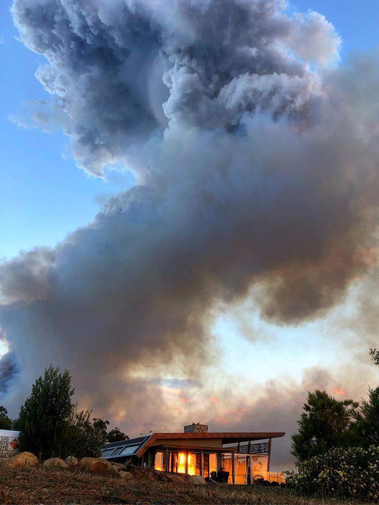 The fire near Gembrook. Picture: Niklas Passmann