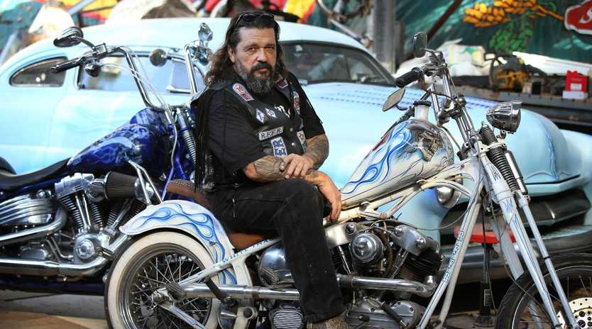 4/4/2016: United Motorcycle Council Queensland president Michael Kosenko, known as Little Mick, a Rebels MC member, at his home in Warner, Brisbane. Mick reacts to this afternoon's release of the bikie laws report into the contentious VLAD laws. Lyndon Mechielsen/The Australian
