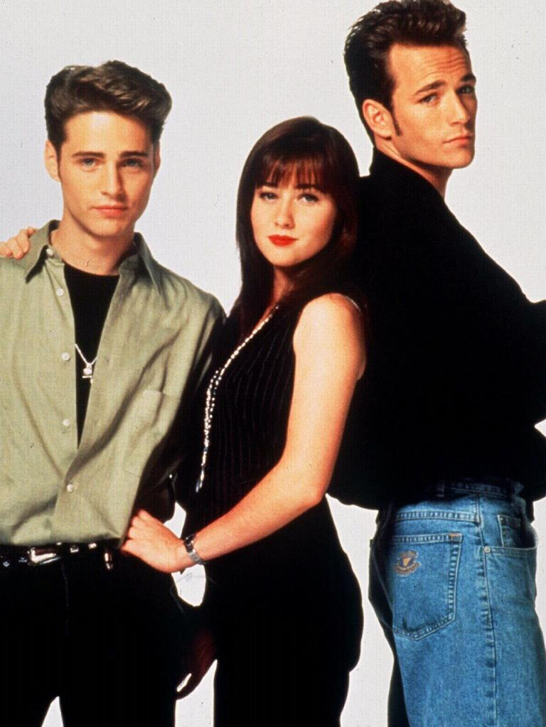 (L-R) Jason Priestley, Shannen Doherty and Luke Perry in Beverly Hills 90210.  Picture:  Supplied