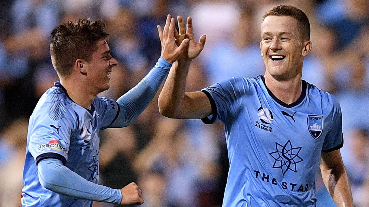 Sydney youngster Cameron Devlin (left) celebrates scoring with teammate Brandon O'Neill. Picture: AAP