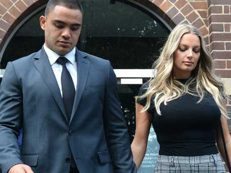 Dylan Walker and fiance Alexandra Ivkovic leave Manly court.
