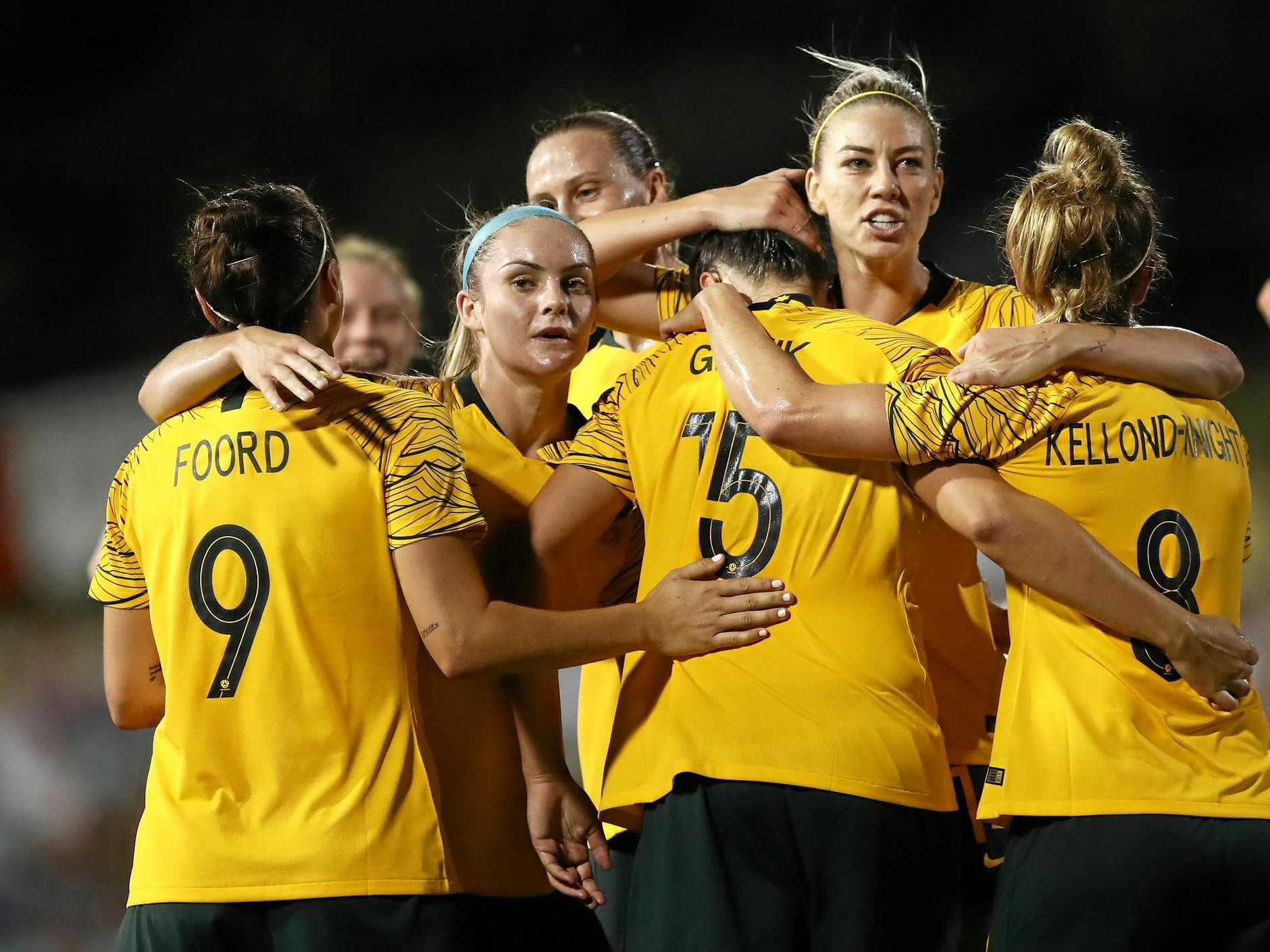 The Matildas celebration after Emily Gielnik's goal against New Zealand in their Cup of Nations opener. Picture: Brendon Thorne/AAP