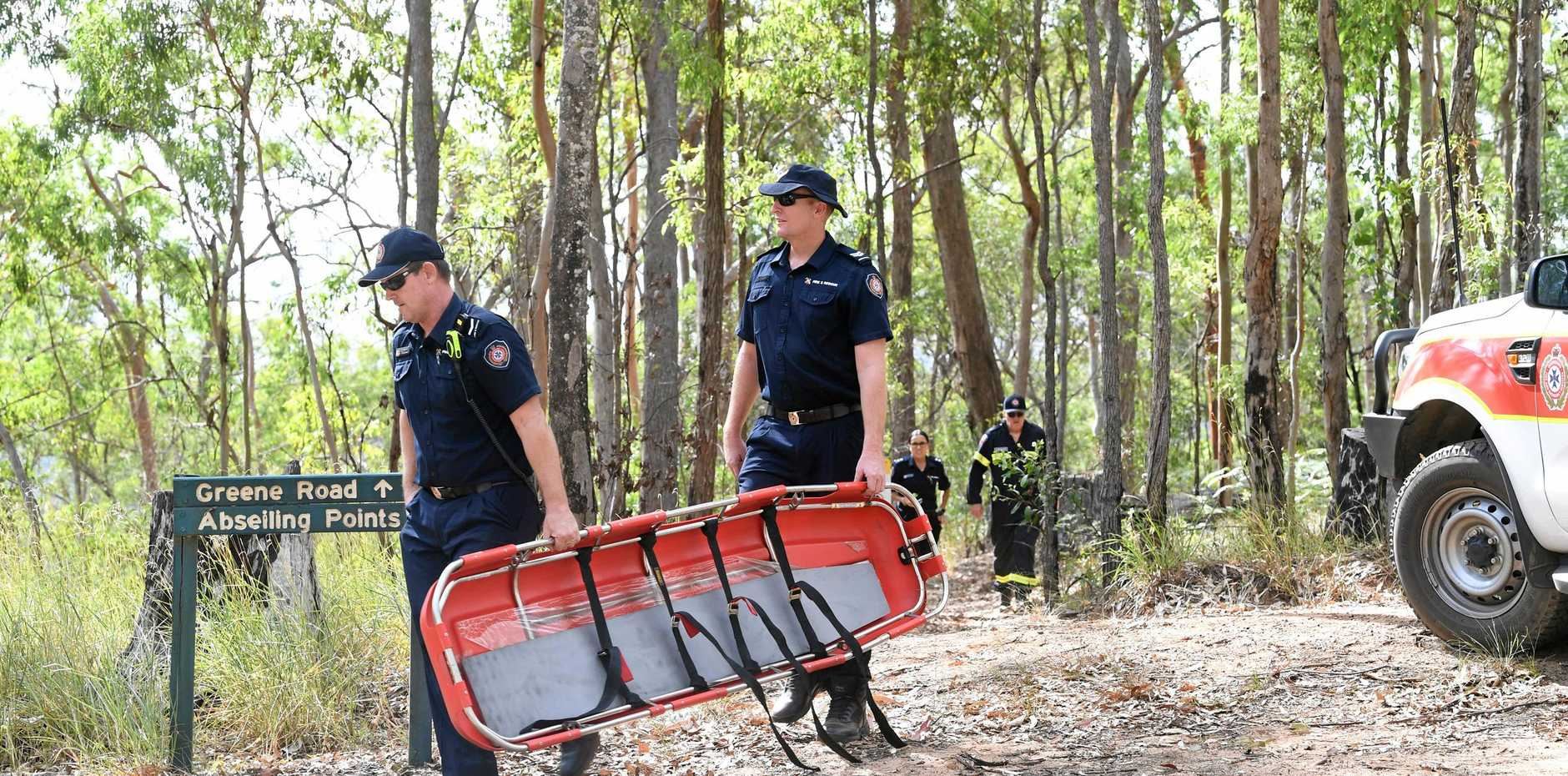 CLIFF TRAGEDY: Emergency crews were unable to save a critically injured man who died after an abseiling accident near Gympie on Saturday.