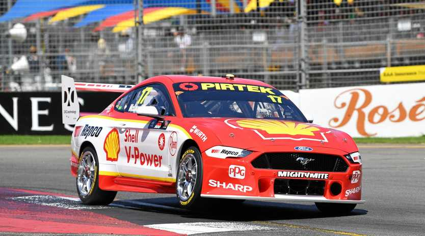 Scott McLaughlin pushes his Mustang at the Adelaide 500 on Saturday. Picture: David Mariuz/AAP