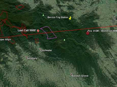 Map shows the path of the VH-MDX flight as calculated by missing plane sleuth Gavin Grimmer.