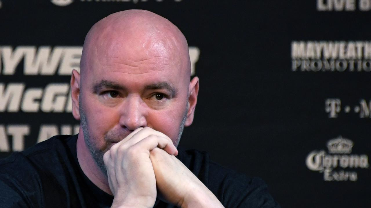 LAS VEGAS, NV - AUGUST 23: UFC President Dana White attends a news conference for the bout between boxer Floyd Mayweather Jr. and UFC lightweight champion Conor McGregor