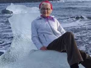 Woman posing on iceberg swept away