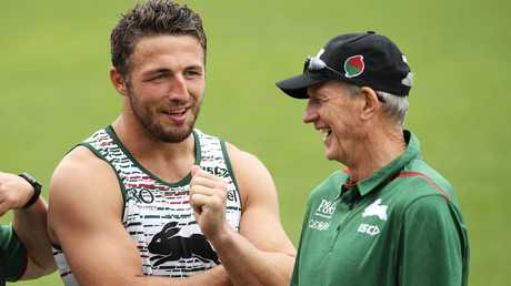 Wayne Bennett shares a laugh with Rabbitohs star Sam Burgess. Picture: Mark Kolbe/Getty Images