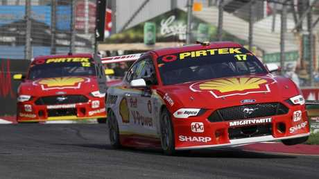 Scott McLaughlin puts his Mustang through its paces in Adelaide.