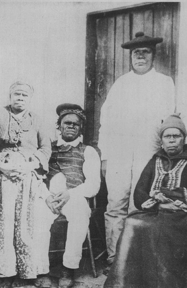 Truganini, left, pictured with husband King Billy, taught her culture and language to mission founder Robinson, but became disillusioned with European settlers.