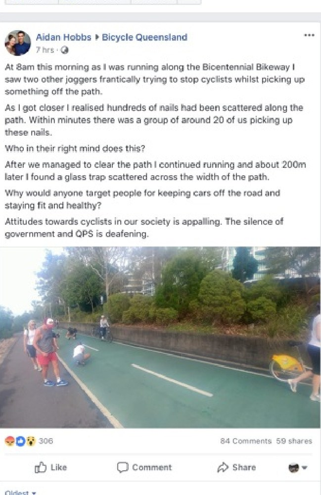 A Facebook post describes the horror of bystanders forced to clear a bikeway of nails and broken glass before anyone was hurt. Picture: Facebook