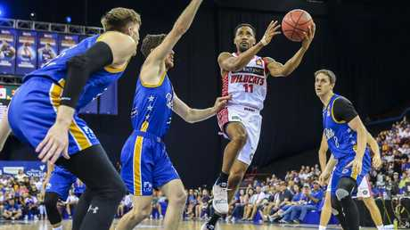 Bryce Cotton drives to the basket during the Wildcats' semi-final victory. Picture: AAP