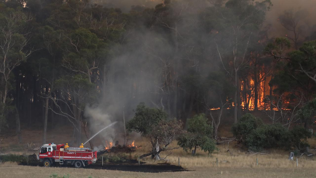 Firefighters on the scene in Bunyip State Park CFA near Tynong North. Picture: Alex Coppel