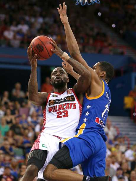 Perth player Terrico White goes to the basket. Picture: Getty