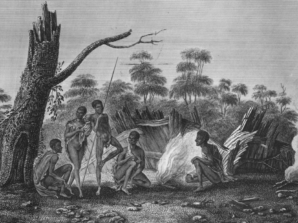 Colonial drawing of Tasmania's Aborigines, who were wiped out by colonisation by the late 19th century.
