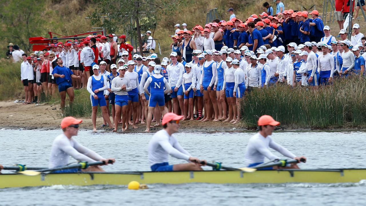 Nudgee College supporters at the Wyaralong Dam regatta (AAP/Image Sarah Marshall)