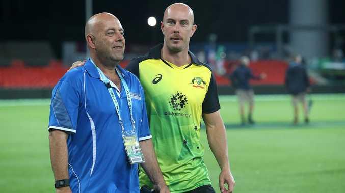 Former national coach Darren Lehmann talks with Brisbane Heat veteran Chris Lynn. Picture: Jono Searle/Getty Images