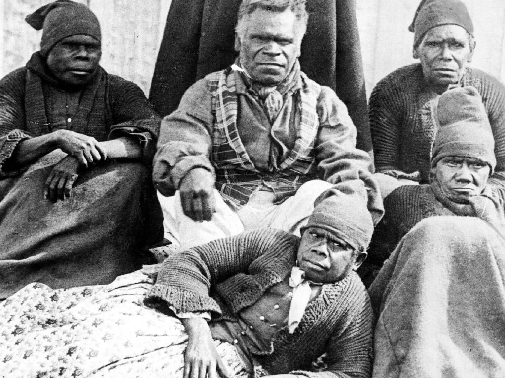 William 'King Billy' Lanne (centre), his wife Queen Truganini (front, lying), at Oyster Cover in 1860, the last of Tasmanian Aborigines wiped out by white settlement.