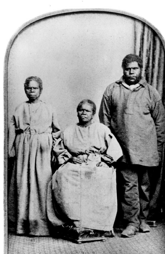Studio portrait of the last of the Tasmanian Aborigines (left to right), Truganini, her relative Bessy Clarke and William 'King Billy' Lanne.