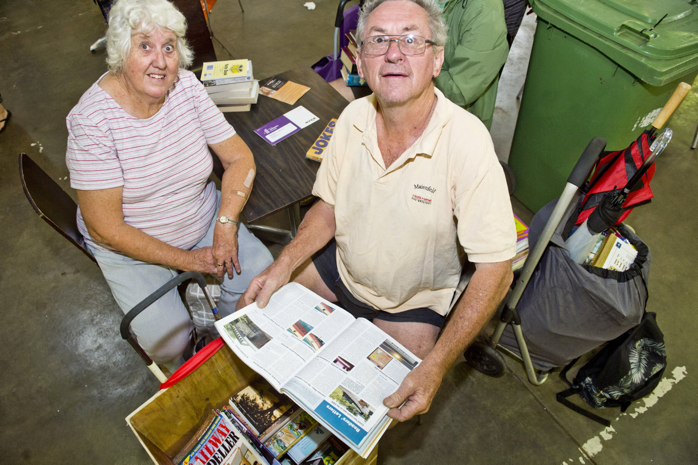 Tia and David Bennett travel from Maryborough every year for The Chronicle Lifeline Bookfest at the Chronicle Lifeline Bookfest . Saturday, 2nd Feb, 2019.